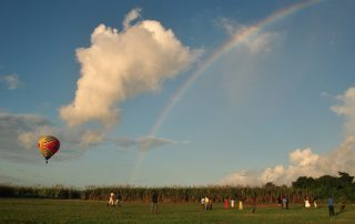 Balloon and a beautiful rainbow